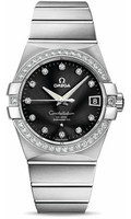 Omega Constellation 18K Brushed WG Black Dial Diamond Watch 123.55.38.21.51.001