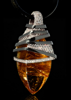 "Mousson Atelier Wind Collection ""Zephyr"" Gold Rutile Quartz & Diamond Pendant P0036-0/1"