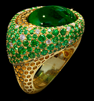 """Mousson Atelier New Age """"Honeycombs"""" Gold Tourmaline & Tsavorite Ring R0052-0/4"""