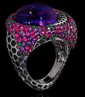 """Mousson Atelier New Age """"Honeycombs"""" Gold Amethyst & Sapphire Ring R0052-0/5"""