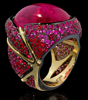 "Mousson Atelier New Age ""Caterpillar"" Gold Tourmaline Ring R0057-0/4"