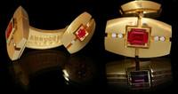 Mousson Atelier Mens Jewellery Pink Sapphire & Diamond Cufflinks C0071-0/3