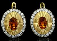 Mousson Atelier Tweed Collection Gold Tourmaline & Diamond Earrings E0084-0/10