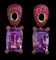 """Mousson Atelier New Age """"Sabre"""" Gold Amethyst & Ruby Earrings E0049-1/1"""