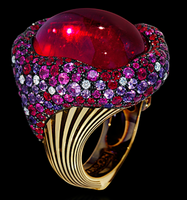 "Mousson Atelier New Age ""Mox"" Gold Tourmaline & Sapphire Ring R0054-0/1"