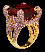 "Mousson Atelier New Age ""Iguana"" Gold Tourmaline & Sapphire Ring R0050-0/7"