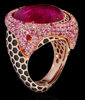 """Mousson Atelier New Age """"Honeycombs"""" Gold Tourmaline Ring R0052-0/7"""