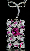 """Mousson Atelier Hi Jewellery Collection """"Cherry Garden"""" Gold Pink Sapphire & Diamond Necklace N0026-0/1"""