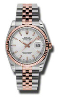 Rolex Watches Datejust 36mm Steel & Pink Gold Fluted Bezel Jubilee 116231SSJ