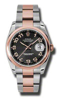Rolex Watches Datejust 36mm Steel & Pink Gold Domed Bezel Oyster 116201BKCAO