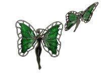 Jade & 1.40 ct Diamond Butterfly-Shaped Brooch/Pendant