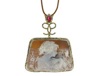 Hand Made Cameo With Diamond & Ruby In 18K Gold Pendant