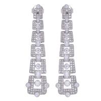 ART DECO DIAMOND EARRINGS 18K WHITE GOLD