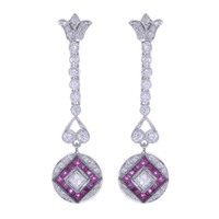 ART DECO DIAMOND AND RUBY EARRINGS 18K WHITE GOLD TPUGI-301