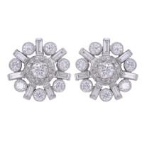 ART DECO 2.08 CT DIAMOND EARRINGS 18K WHITE GOLD