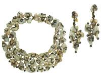 Fresh Water Pearl & Diamond Earring & Necklace Set