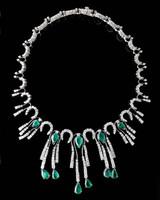 Gayubo 18K WG Emerald & Diamond Fringe Necklace 9596/E