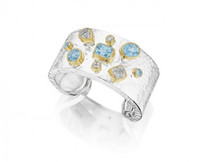 Thistle & Bee Silver Hammered Cuff with Topaz