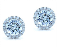 0.62 cttw Round Diamond Earrings In 18k White Gold