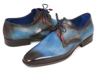 Paul Parkman Blue & Brown Hand-Painted Derby Shoes (ID326-BLU)