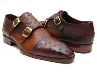 Paul Parkman Brown & Tobacco Genuine Ostrich Double Monkstraps (ID43K68)