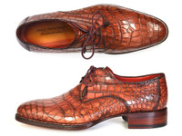 Paul Parkman Genuine Crocodile Goodyear Welted Derby Shoes (ID44Z87)