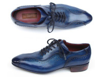 Paul Parkman Handmade Lace-Up Casual Shoes For Men Blue (ID84654-BLU)