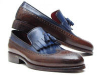 Paul Parkman Kiltie Tassel Loafer Dark Brown & Navy (IDKT44BN)
