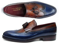 Paul Parkman Kiltie Tassel Loafer Navy & Tobacco (IDKT74NB)