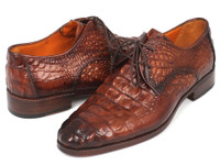 Paul Parkman Light Brown Crocodile Embossed Calfskin Derby Shoes (ID1438TAB)