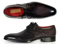 Paul Parkman Men's Anthracite Black Derby Shoes (ID054F-ANTBLK)