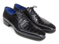 Paul Parkman Men's Black Genuine Crocodile & Calfskin Oxford Shoes (ID048-BLK)