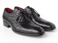 Paul Parkman Men's Black Genuine Crocodile Derby Shoes (ID55W77-BLK)