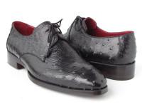 Paul Parkman Men's Black Genuine Ostrich Derby Shoes (ID33B76-BLK)
