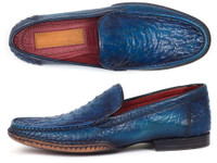 Paul Parkman Men's Blue Genuine Ostrich Opanka Stitched Moccasins (IDYL94OPK)