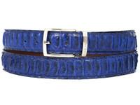 PAUL PARKMAN Men's Blue Genuine Python (snakeskin) Belt (IDB03-BLU)