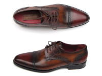 Paul Parkman Men's Bordeaux/Tobacco Derby Shoes Leather Upper & Leather Sole (ID046-BRD-BRW)