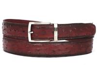 PAUL PARKMAN Men's Bordeaux Genuine Ostrich Belt (IDB04-BRD)