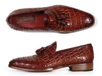 Paul Parkman Men's Brown Crocodile Embossed Calfskin Tassel Loafer (ID0823-BRW)