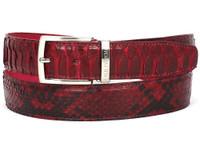 PAUL PARKMAN Men's Burgundy Genuine Python (snakeskin) Belt (IDB03-BUR)