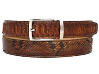 PAUL PARKMAN Men's Camel Brown Genuine Python (snakeskin) Belt (IDB03-CMLBRW)