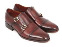 Paul Parkman Men's Cap-Toe Double Monkstraps Brown (ID0457-BRW)