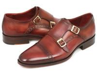 Paul Parkman Men's Cap-Toe Double Monkstraps Camel & Light Brown (ID0457-CML)