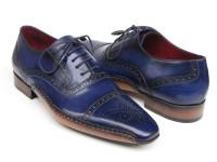 Paul Parkman Men's Captoe Navy Blue Hand Painted Oxfords (ID5032-NAVY)