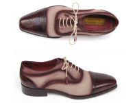 Paul Parkman Men's Captoe Oxfords Bordeaux/Beige Hand-Painted Suede Upper & Leather Sole (ID024-BRR)