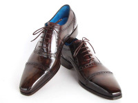 Paul Parkman Men's Captoe Oxfords Anthracite Brown Hand-Painted Leather (ID024-ANTBRW)