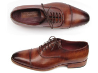 Paul Parkman Men's Captoe Oxfords Brown Hand Painted Shoes (ID077-BRW)