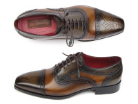 Paul Parkman Men's Captoe Oxfords Camel & Olive Shoes (ID024-OLV)