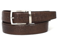 PAUL PARKMAN Men's Crocodile Embossed Calfskin Leather Belt Hand-Painted Brown (IDB02-BRW)