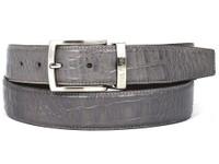PAUL PARKMAN Men's Crocodile Embossed Calfskin Leather Belt Hand-Painted Gray (IDB02-GRY)